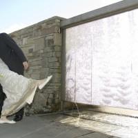 bride groom water curtain